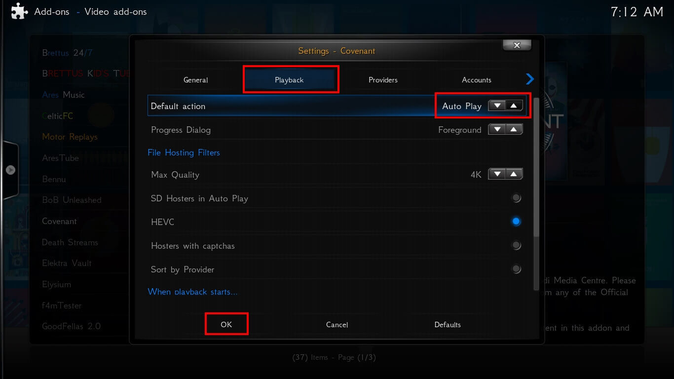 Enable Auto Play option in Covenant Kodi Addon