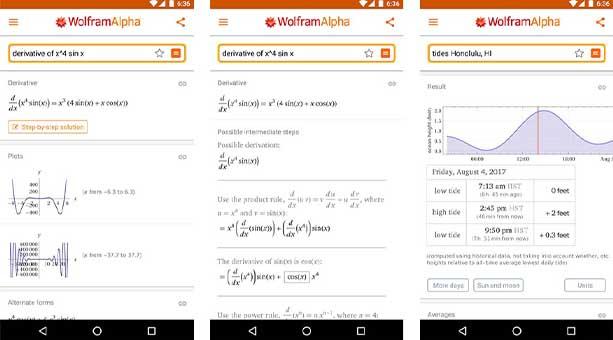 en iyi ileri düzey matematik uygulaması WolframAlpha 2020