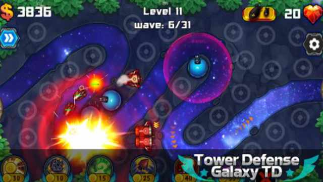 Tower Defense Galaxy TD Mod Apk Unlimited Gold + Crystals free download Android happy 8 game gameplay money