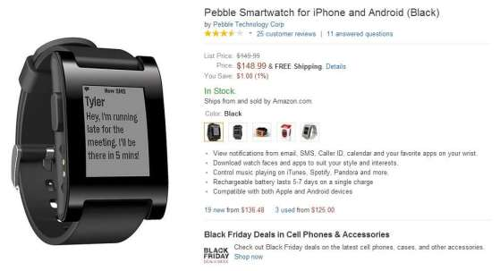 Pebble en Amazon