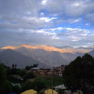 The sun rises on the peaks in Nako. Geographically in Kinnaur but the landscape is more Spitian