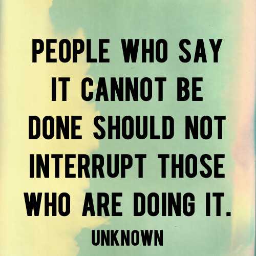 Image result for The person who says it cannot be done         should not interrupt the person who is doing it. Unknown