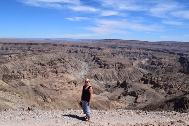 Triin at the Fish River Canyon in Namibia