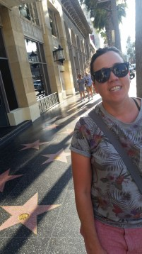 Charlene relieved to reach the Walk of Fame after a hot and long walk from our AirBnB