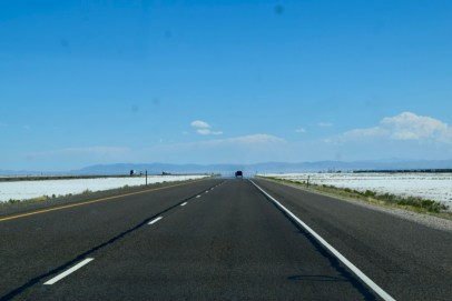 Driving through the salt lakes in Utah