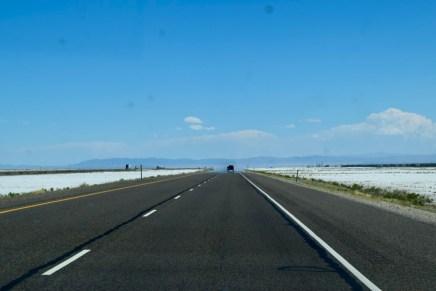 Driving through the salt lakes in Utah