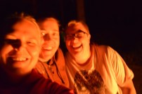 Triin, Charlene and Amy by the campfire in Colorado