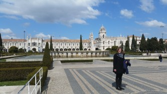 me in front of the Jeronimos Monastery