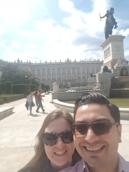 Selfie time with the Royal Palace of Madrid in the background