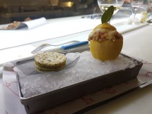fish tartar with a lemon sauce and the most delightful presentation