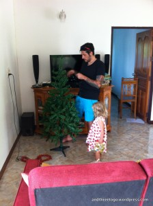 Chad and Zoë putting the tree together