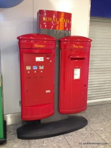 A Mailbox in Heathrow Airport. I like the way these ones look.