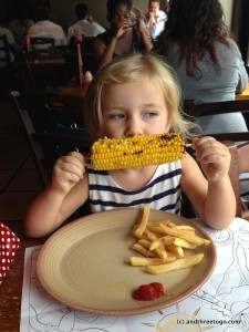 This girl loved Nando's corn on the cob.