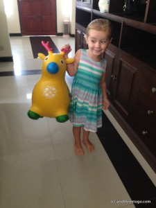 Chad bought Z a bouncy reindeer, who she promptly named Sven (like in the Disney film Frozen).