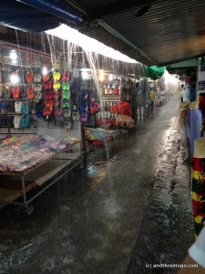 This is what the Weekend Market looks like in a deluge during the rainy season. Good thing it is hot enough so that one's clothing dries immediately.