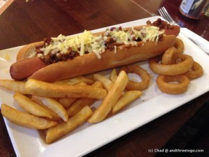 A Foot Long Chili Dog and a beer for £1.99!