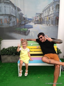 There is always a photo op right around the corner in Phuket Town, like this one that Chad and Z nicely posed in for me.