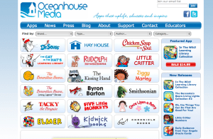 A screenshot of Oceanhouse Media's website and the choices of books to download.