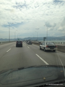 Crossing the Penang Bridge, The 5th longest bridge in SE Asia.