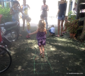 Z playing hopscotch at a local play group. I love her love of jumping.