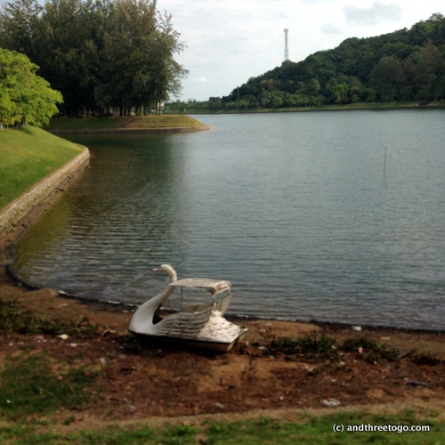 Lone swan boat on my walk/jog around Nai Harns reservoir.
