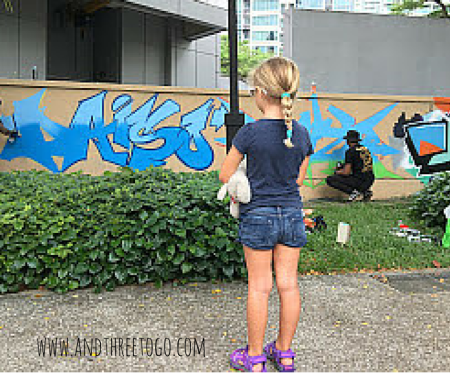 Z taking in the approved street artists creating their art in the park near Orchard Street,