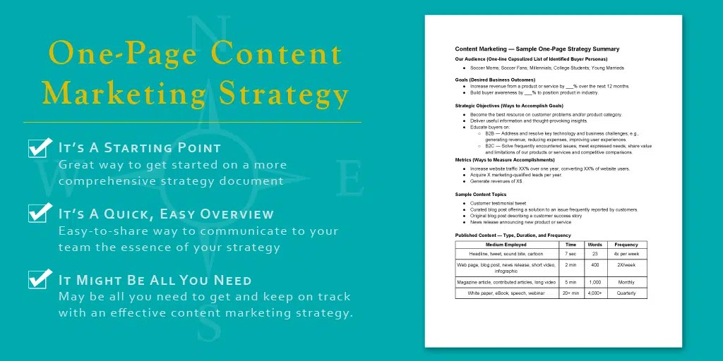 One Great Idea A Simple One Page Content Marketing