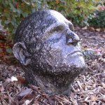 Aluminum Bust in Garden