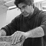 Rader working in print studio.