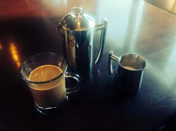 French Press, Mug, and Cream