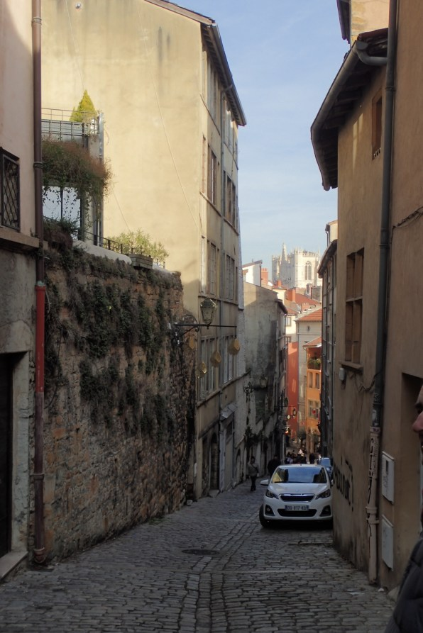 Walking down from the Fourvière