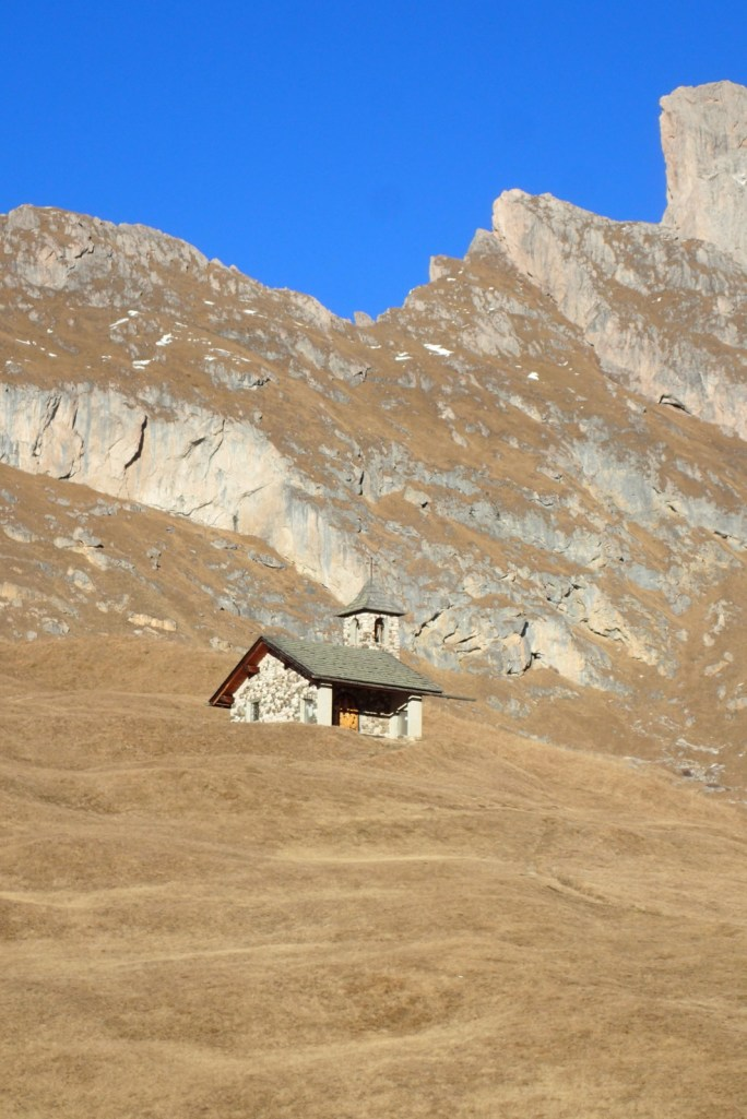 Little chapel on the bare slopes of St Christina
