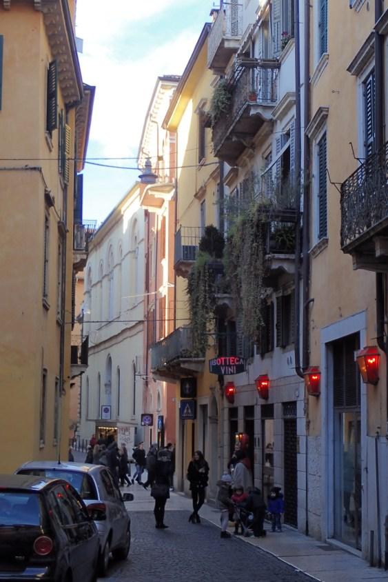 The narrow cobblestone streets