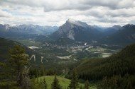 Looking down on Banff and Bow River Valley from the top of Mt Norquay chairlift