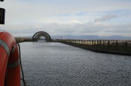 Returning to the Falkirk Wheel on the aquaduct at end of cruise
