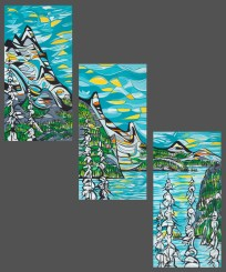 Sea to Sky (triptych), size 3x 24x48 in., originals sold, canvas giclée print available in size L1,L2 each