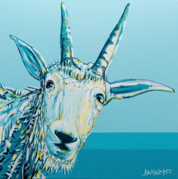 Mountain Goat, size 36x36 in., original sold, canvas giclée print available in size S1,S2,S3