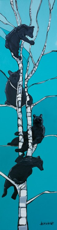 Bear Party, size 18x72 in., original sold, canvas giclée print available in size 18x72 for $895