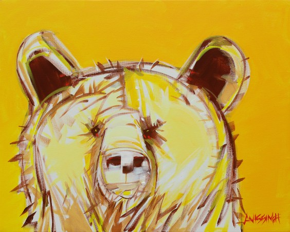 Electro Bear 2 original size 20x16 in., original available for $895, canvas giclée print available in sizes R2,R4