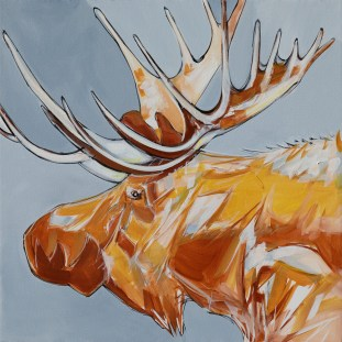 Moose, original size 36x36 in., original not available, canvas giclée print available in sizes S1,S2,S3,S4