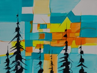 Geo Sunset, original size 16x20 in., original $1100, canvas giclée print available in sizes R4