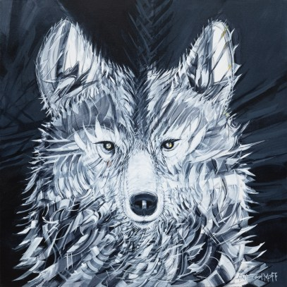 Drifter Wolf, original size 36x36 in., original sold, canvas giclée print available in sizes S1,S2,S3,S4