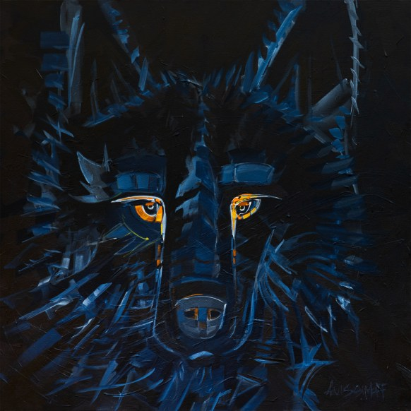 Shadow Wolf, original size 36x36 in., original not available, canvas giclée print available in sizes S1,S2,S3,S4