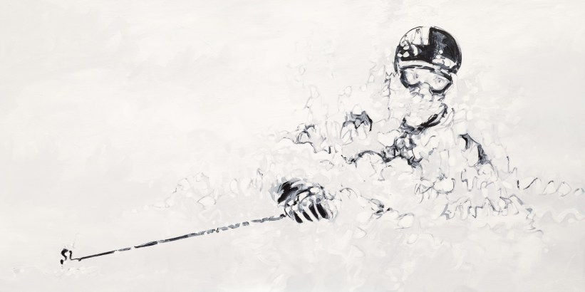 Rory Bushfield (skier), photo by Mason Mashon, original size 36x72 in., original $4000, canvas giclée print available in sizes L2,L4,L5,L6