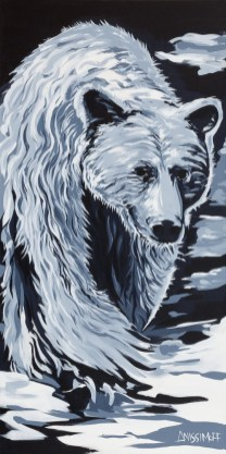 Spirit Bear, size 36x72 in., original sold, canvas giclée print available in sizes L2,L4,L5,L6