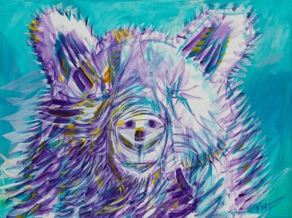 Violet Bear, size 18x24 in., original $1500, canvas giclée print available in size R3