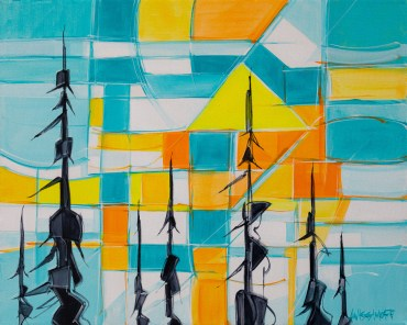 Geo Sunset Series, size 24x30 in., original sold, canvas giclée print available in size R4