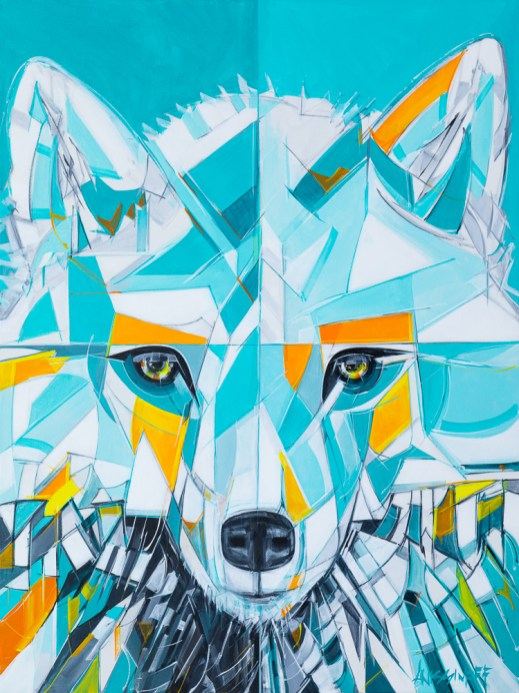 Squamish Wolf, size 30x40 in., original sold, canvas giclée print available in size R6,R7