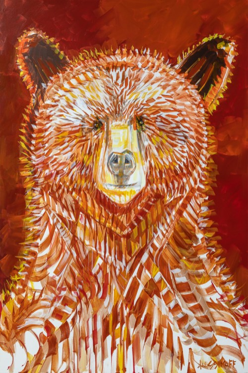 Cinnamon Bear, size 48x72 in., original $8900, canvas giclée print available in size R5,R13,R16