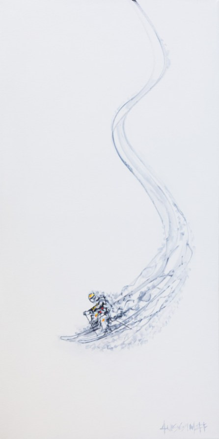 Ski Gesture (2), size 18x36 in., original sold, canvas giclée print available in size L1,L2